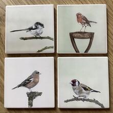 Set of 4 Garden Birds Coaster Set